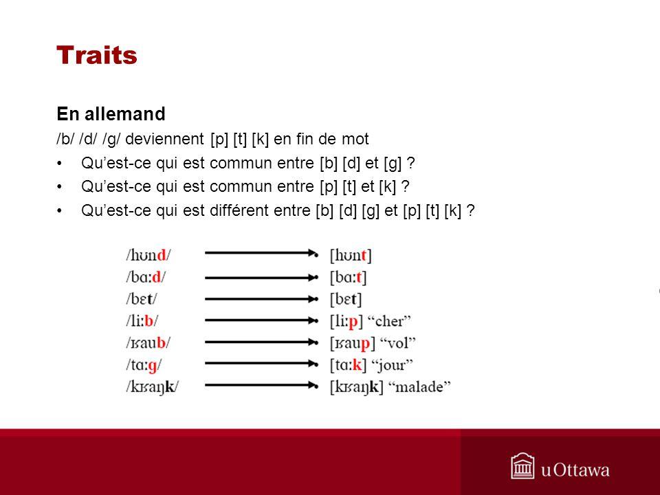 Traits En allemand /b/ /d/ /g/ deviennent [p] [t] [k] en fin de mot